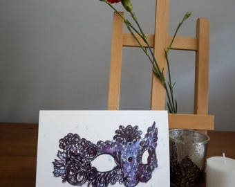 Lace mask A6 watercolour greetings card