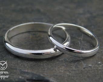 His and Hers. Sterling silver wedding ring set, half-round wire, made at your size. Wedding bands, engagement ring, ring for men