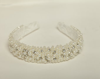 Bridal headband Pearl wedding beaded headband Wedding rhinestone headband Bridal headpiece Rhinestone bridal crown Pearl wedding headband