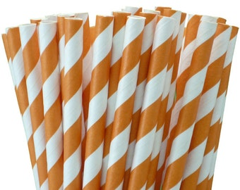 25 Orange Stripe Paper Straws-7.75 Inches-Party Straws-Shower-Wedding-Party-Biodegradable