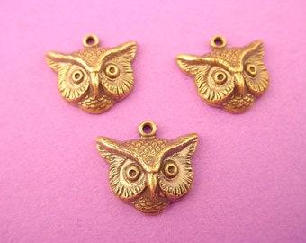 3 brass ox owl charms 13mm