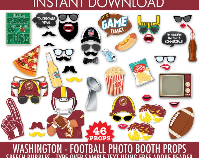 Washington Football Photo Booth Props - Bowl Party- Football Party - Instant Download PDF - 46 DIY Printable Props