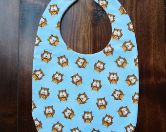 Baby Bib/ Blue Owl/ Infant and Toddler sizes/ Reversible