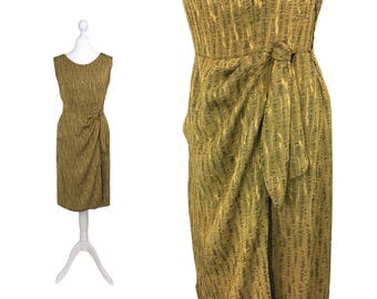 1950's Sarong Dress | Vintage Dress | Mustard Gold Sheath Dress | 50's Dress | 1950's Cocktail Party Dress
