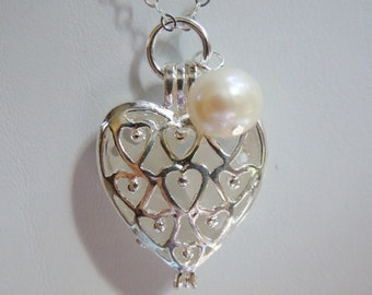 White Sea Glass Heart Locket  Necklace -  Beach Glass Locket - Seaglass Jewelry
