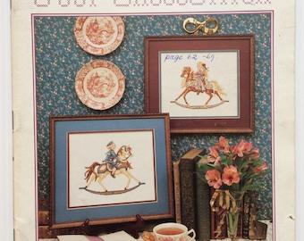 Vintage Just CrossStitch magazine - March-April 1988 issue - Teresa Wentlzer designs - rocking horse