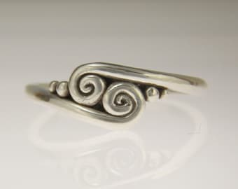 Sterling Silver Scroll Ring/ Silver Wave Ring/ Double Swirl Ring/ Silver Swirl Ring/ One of a Kind Ring/ Silver Thumb Ring/ Handmade Ring