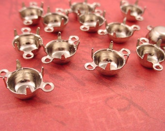 18 Silver tone Round Prong Setting Connectors 2 ring Closed Back 39SS