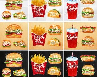 Fast Food Watercolor