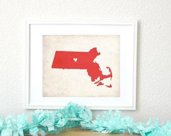 Massachusetts Rustic State Map. Personalized Massachusetts Map. Wedding Gift. Housewarming Gift. Family Travel Map. Art Print 8x10.