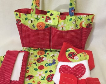 Doll Diaper Bag - Doll Accessories - Big Sister Gift - Pretend Play - Cloth Doll Diaper - Little Mommy Set - Ladybugs - Cabbage Patch Doll