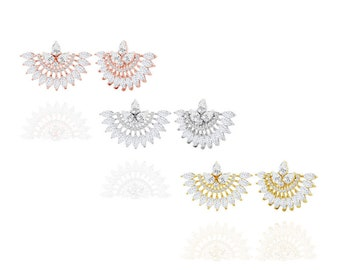 Diane Lo'ren 18KT Gold Plated Fancy Marquee Stud Earring