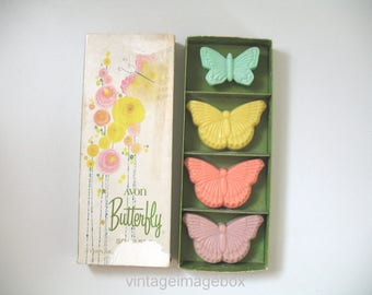 Vintage Avon Butterfly Soaps, with Box, 1970s Toiletries