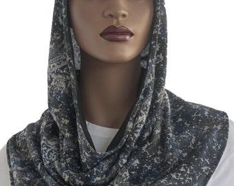 Koul SHôl Hoodie™ Blue Grey Black Cotton Jersey Knit Cowl Hoodie Lined Veil Devotional Head Hoodie Veil Hoodie Hijab Hoodie Handmade