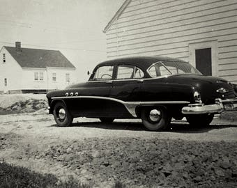 Old Buick in Black and White photo print 5x7 matted for 8x10