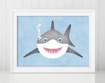 Shark Watercolor Print / Shark Nursery Art / Shark Nursery Decor / Baby Shark / Shark Nursery / Shark Watercolor / Shark Print / Shark Art