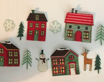 Little Christmas Village - Iron On Fabric Appliques - Christmas