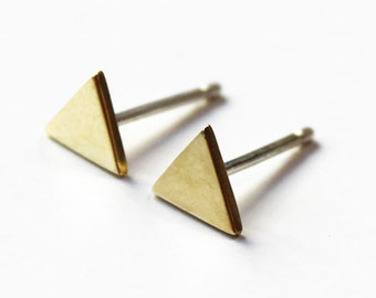 ON SALE Tiny Triangle Stud Earrings (brass/silver)