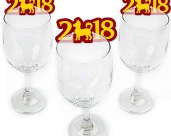 Chinese New Year - Wine Markers - Year of the Dog Shaped Wine Glass Charms - 2018 Drink Markers - Wine Tags - Barware - Set of 24