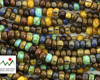2/0 3/0 Mix -10IN Strand,Aged Caribbean Blue Picasso Seed Bead Mix,Czech Seed Beads,Item #: SED090110