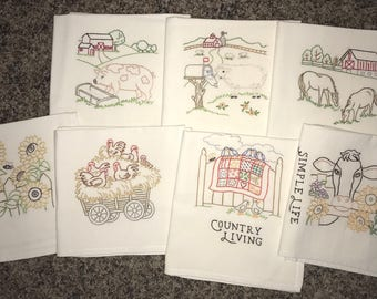 Set of 7 Hand Embroidered Kitchen flour sack Tea Towels with Farm Living theme,  Days of the week. Dish Drying, Quality vintage Towel.