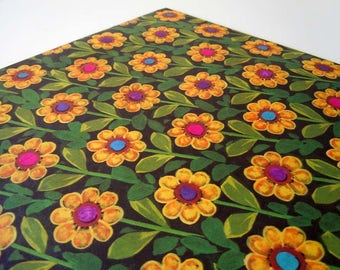 Vintage 1980's Any Occasion Wrapping Paper Black Yellow Daisy Gift Wrap