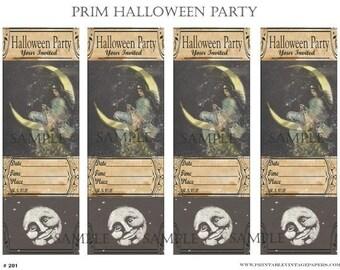 Prim Halloween Party Invites Collage Sheet E201