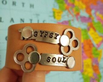Gypsy Soul Vintage Key & Leather Cuff Bracelet