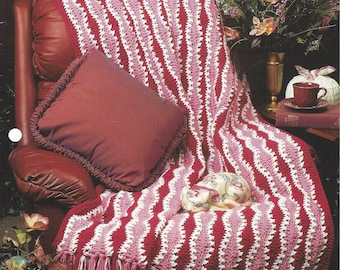 Pattern Afghan Blanket Crochet Rose Waves Afghan - Annie's Crochet Quilt Afghan - Home Decor, Bedspread Pattern, Couch Sofa Throw, Bedding