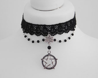 Open Pentagram Pentacle Beaded Pagan Wicca Black Lace Choker Necklace