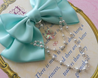 Sweet Lolita Hair clip or Brooch Aqua bow with glass heart and white pearl beads pearls