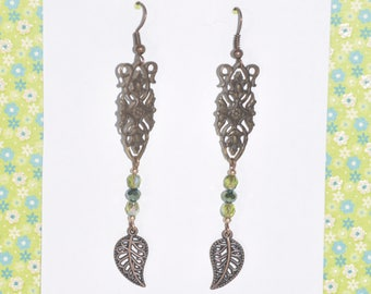 Earrings Copper Filigree Green Crystal Flower Leaf Charm Woodland Nature Floral Tree Victorian Vintage #C07b One Of A Kind