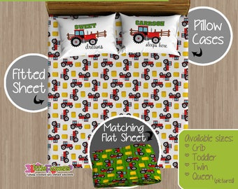 Tractor Custom Fitted and Flat Sheets - Kids Bed Sheets - Customized Children Bedding - Kids Pillowcase - Tractor Bedroom Decor - Farm Boy
