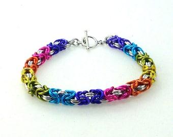 Chainmaille Jewelry, Byzantine Bracelet, Rainbow Bracelet, Rainbow Jewelry, Colorful Bracelet, Unique Bracelet