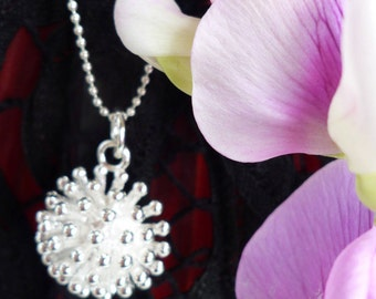 Ball chain silver plated dandelion flower pendant necklace