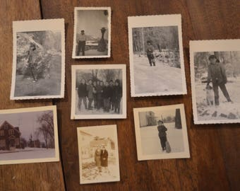 Lot of vintage black and white photographs pictures snow children dog house cold weather