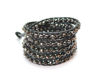 Black Crystal Wrap Bracelet; Leather Wrap Bracelet, 5 wrap Leather Bracelet, Beaded Wrap Bracelet, Wrap leather bracelet