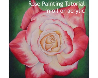 Rose painting tutorial in oil or acrylic, how to paint flowers, botanical painting instructions, paint a red rose in acrylics or oils