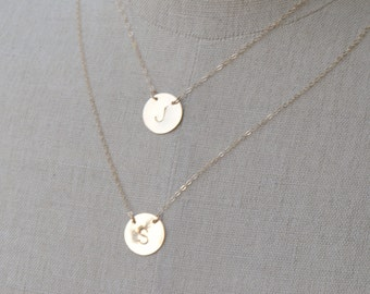 LARGE Disc Necklace, Personalized Gold Disc Necklace, Layering Jewelry, Circle Initial Disc Necklace, Initial Jewelry, Large Silver Disc