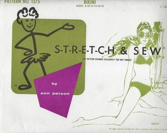 Stretch And Sew 1375 Ladies'  Bikini  By Ann Person Size ( 8-18) UNCUT