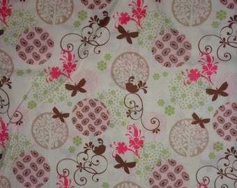 Cream Flower/Tree/Bird Cotton Fabric by the Yard