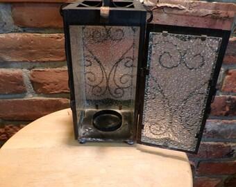 Vintage black candle lantern, Black metal candle lantern, metal and glass candle lantern, hanging candle lantern