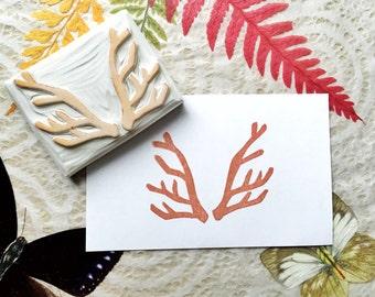 Antler stamp, antlers hand carved stamp, rubber stamp, animal stamp, trendy stamp, deer stamp, deer rubber stamp, deer antler stamp
