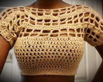 Boho hippie Crochet Flirty summer crop top for sale