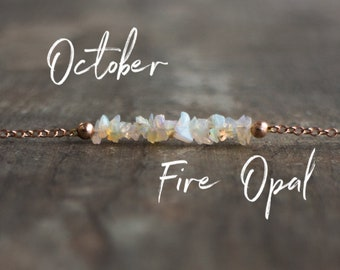 Raw Opal Necklace, Gift for Women, Gift for Mom, October Birthstone Necklace, Fire Opal Necklace, Raw Stone Jewelry, Ethiopian Opal, Choker