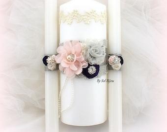 Unity Candle Set, Wedding Candles, Ivory, Blush, Plum, Gray, Unity Candle, Unity Ceremony, Candles, Vintage Wedding, Elegant, Lace Candles