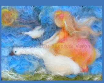 """Printed Note Card - """"The Sky's the Limit"""" -image from wool painting  Waldorf Inspired printed greeting card"""