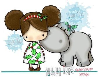 Holly's Christmas Hippo | Digital Stamp
