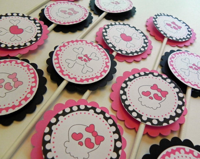Cupcake Toppers: Pink and Black Rock & Roll Skulls birthday party, kids, baby shower decorations