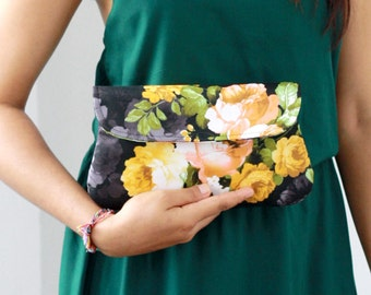 Cotton clutch, black and yellow flower bridesmaid clutch, bridesmaid gift, clutch purse